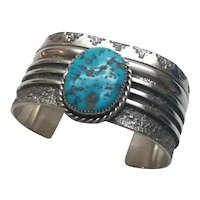 Native American Navajo L. Begay Sterling Silver Turquoise Cuff Bracelet