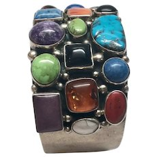 Native American Robert Kelly Bezel Set Multi Stone Sterling Silver Cuff Bracelet