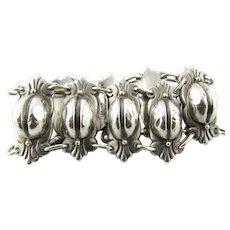 Vintage Mexican 850 Silver Coffee Bean & Foliage Bracelet