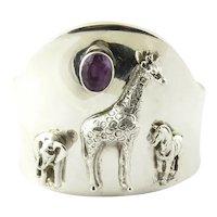 Carol Felley Southwestern Sterling Silver Wildlife Amethyst Cuff Bracelet 1997