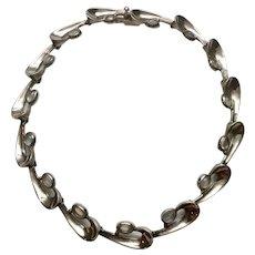Vintage Antonio Pineda Taxco 970 Silver Moonstone Wave Link Necklace