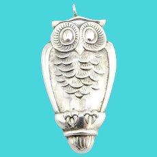Vintage Gorham Sterling Silver Owl Ornament #408