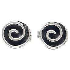 Vintage Winifred Mason Chenet Oxidized Sterling Silver Swirl Cuff Links
