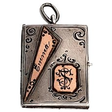 Antique German Silver with Rose Gold Accent Book Charm with Engraving