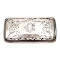 Antique Swedish Silver Engraved Snuff Box with Monogram