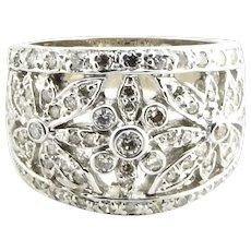 Vintage 14 Karat White Gold and Diamond Cigar Band Ring Size 5.5