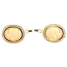 Vintage 18 Karat Yellow Gold  Cameo Earrings