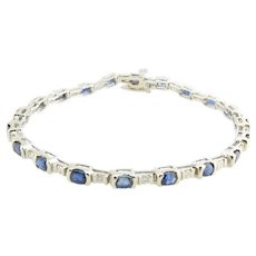Vintage 14 Karat White Gold Sapphire and Diamond Bracelet
