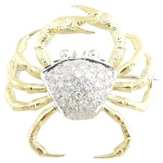 Vintage 18 Karat Yellow/White Gold Diamond Crab Brooch/Pin