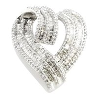 Vintage 10 Karat White Gold Diamond Heart Slide Pendant