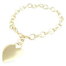 "Tiffany & Co. 18k Yellow Gold Heart Tag Link Bracelet 7.5"""