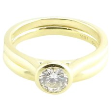 Brilliant Earth GIA Certified 18K Yellow Gold Diamond Engagement Ring and Band 5.5
