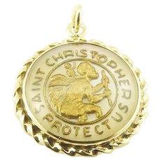 Vintage 14 Karat Yellow Gold St. Christopher's Medal