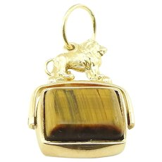 Vintage 9 Karat Yellow Gold and Tiger's Eye Watch Fob