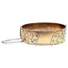 Vintage 9K Rolled Gold Etched Hinged Bangle Bracelet