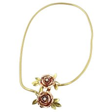 Vintage 14K Yellow and Rose Gold Rose Necklace