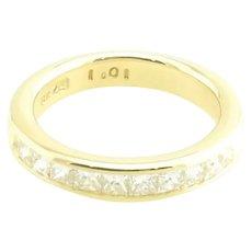 Vintage 18 Karat Yellow Gold and Princess Cut Diamond Wedding Band Size 7