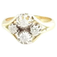 Vintage 14 Karat Yellow and White Gold and Diamond Ring Size 5.75