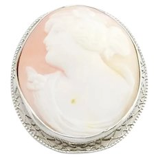Vintage 10 Karat White Gold Cameo Brooch/Pin