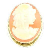 Vintage 18 Karat Yellow Gold Cameo Brooch/Pendant