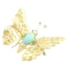 Vintage 18 Karat Yellow Gold Turquoise and Ruby Butterfly Brooch/Pin