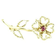 Vintage Tiffany & Co 18 Karat Yellow Gold and Ruby Flower Brooch/Pin