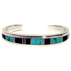 Ray Tracey Native American Sterling Silver Inlaid Turquoise and Suglite Cuff Bracelet