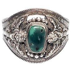 Vintage Silver & Jade Gargoyle Cuff Bracelet