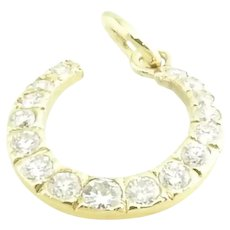Vintage 14 Karat Yellow Gold Diamond Horseshoe Pendant