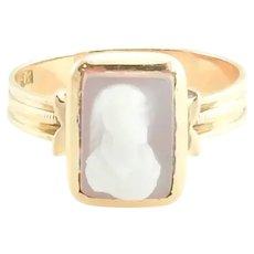 Vintage 10 Karat Rose Gold Cameo Ring Size 6