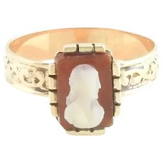 Vintage 10 Karat Rose Gold Cameo Ring Size 6.25
