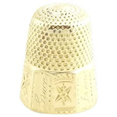 Vintage 14 Karat Yellow Gold Thimble and Spool of Thread Charm