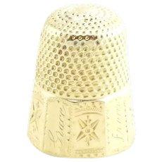 Vintage 14 Karat Yellow Gold Thimble and Spool of Thread Charm