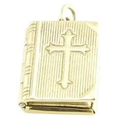 Vintage 14 Karat Yellow Gold Bible The Lord's Prayer Charm