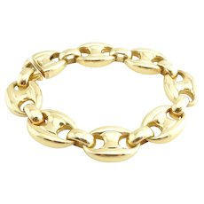 Vintage Cartier 18K Gold Heavy Anchor Link Mariner Bracelet 8""