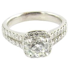 GIA Certified 14K White Gold Round .70ct Halo Diamond Engagement Ring Size 4