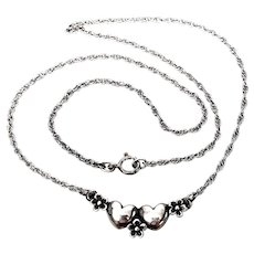 Retired James Avery Sterling Silver Hearts and Flowers Necklace
