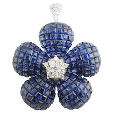 Invisible Set Genuine Sapphire and Diamond Flower Pendant / Brooch 18K White Gold