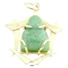 Vintage 14 Karat Yellow Gold and Jade Buddha Pendant