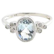 Vintage 14 Karat White Gold Blue Topaz and Diamond Ring Size 7.25
