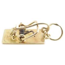 Vintage 14 Karat Yellow Gold Mechanical Mouse Trap Charm