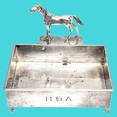Herbst & Wassall for Gorham Inc Sterling Silver Figural Horse Business Card Holder with Monogram