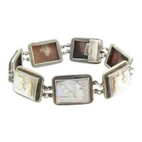 Vintage 900 Sterling Silver Mother of Pearl and Abalone Bracelet