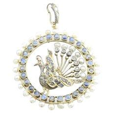 Vintage 14 Karat Yellow Gold Pearl, Diamond and Sapphire Peacock Pendant