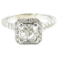 GIA Certified Diamond Halo Engagement Ring 1ct Cushion Cut 14K White Gold 7.25