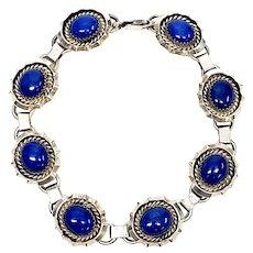 Vintage James Francisco Native American Sterling Silver Lapis Lazuli Link Bracelet