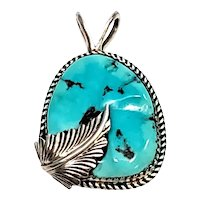 Vintage Native American NF Sterling Silver Turquoise Feather Pendant
