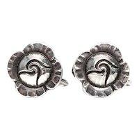 Vintage Georg Jensen Denmark Sterling Silver Flower Screwback Earrings #89