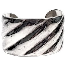 Vintage Roberto Ballesteros Mexico Sterling Silver Wide Cuff Bracelet
