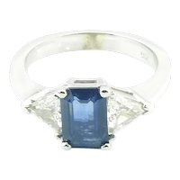 Vintage 14 Karat White Gold Sapphire and Diamond Ring Size 4.75 Certified